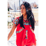 The Cedral - Retro Mexican Style Embroidery Blouse