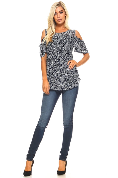 Women's Paisley Print Cold Shoulder Top