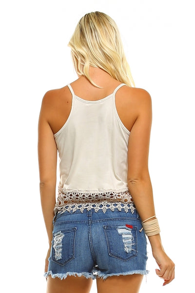 Women's Suede Lace Tank Top