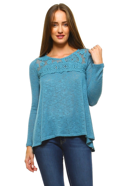 Women's Long Sleeve Crochet Knit Top