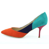 Mix Color High Heels Orange Blue Grey