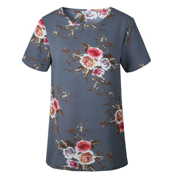 Casual Floral Printing T-shirt Short Sleeve