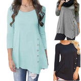Women Long Sleeve Loose Button Tunic Shirt