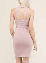 Khloe - Sexy Mauve Keyhole Cocktail Mini Dress