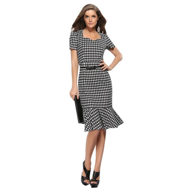 Elegant Plaid  Work  office Pencil Dress Summer