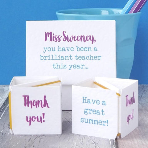 Personalised pop-up thank you teacher card by Paperbuzz