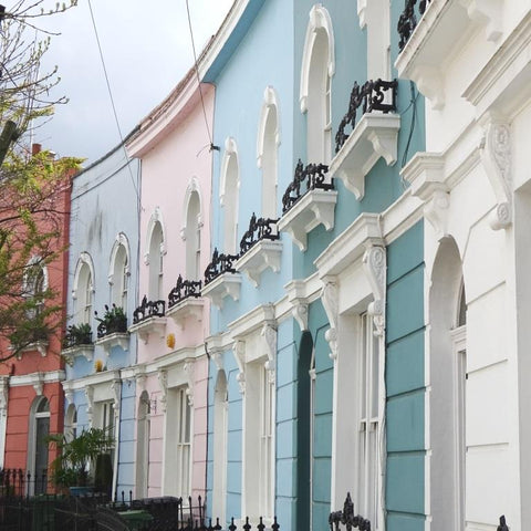 Colourful painted houses in Camden, London