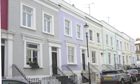 Notting Hill painted houses in London