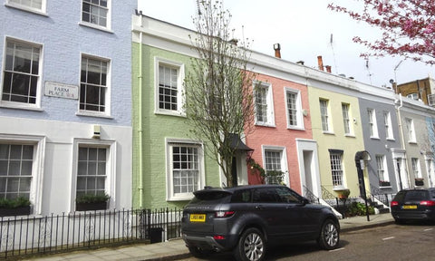 Pastel rainbow painted houses in Notting Hill, London