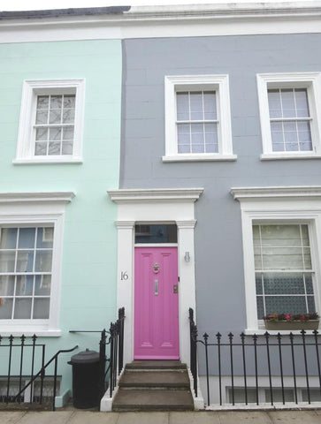 Pastel coloured painted houses in Notting Hill, London