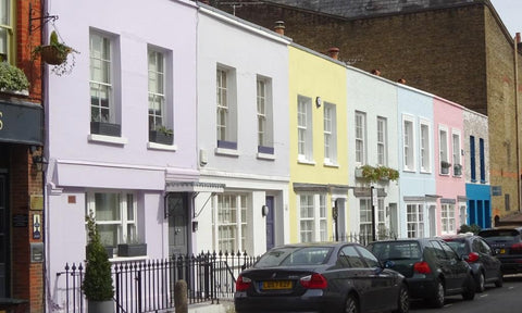 Pastel painted street in London