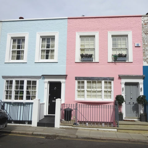 Pink and blue houses in Notting Hill, London