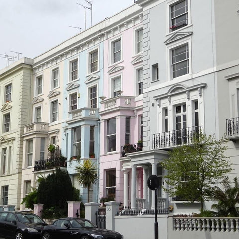 Pastel pretty houses in Notting Hill, London