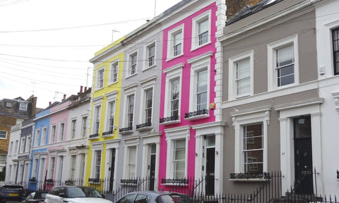 Notting Hill bright and colourful rainbow street