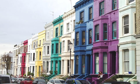 Lancaster Road, London - a street of rainbow houses