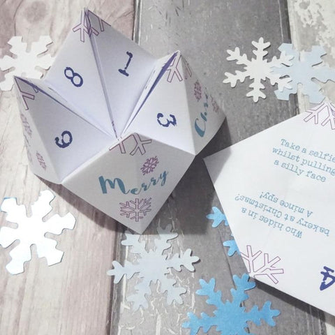 Christmas cootie catcher fortune teller game