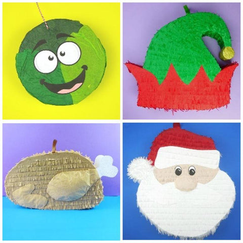 The finished pinatas for the My Shawlands Christmas Pinata Trail 2020.