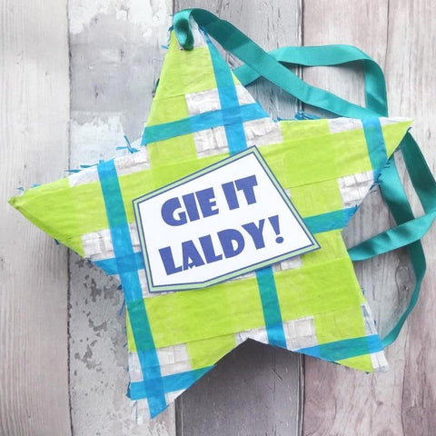 Scottish tartan pinata 'Gie it laldy!' by Paperbuzz