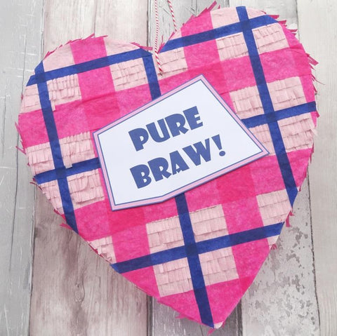 Pure Braw Scottish Tartan Pinata by Paperbuzz