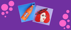 A bottle of Irn Bru pinata & a Lawrence Chaney (from Drag Race UK) pinata by Southside Pinatas