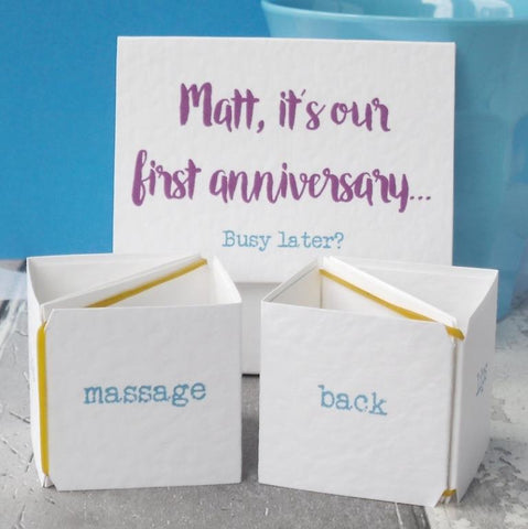 Busy Later? First Anniversary Card