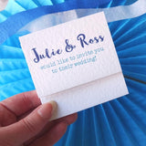 Blue wedding invitation by Paperbuzz