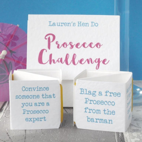 Prosecco hen party game by Paperbuzz