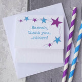 Personalised Unicorn Thank You Card