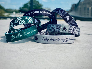 Poly-elastic wristbands designed to inspire entrepreneurs and compliment urban yet casual styles.