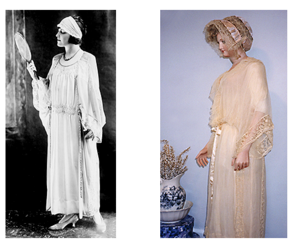 2 women wearing fashion forward nightgowns of the 1920's with lace trim