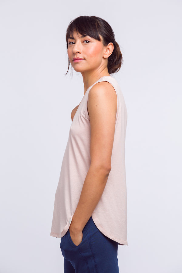 Woman wearing Sepia Rose Tencel tank top made for sleepwear, loungewear side view