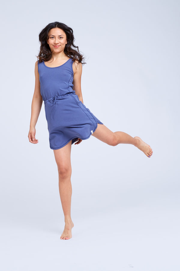 Indigo Blue  pajama dress designed for sleep but worn all day side view