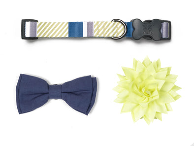 Stripe Soiree - Indigo & Navy Bow/Flower Collection