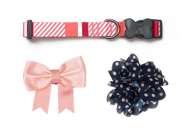 Stripe Soiree - Coral & Navy Bow/Flower Collection