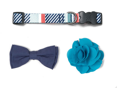 Stripe Soiree - Mint & Navy Bow/Flower Collection
