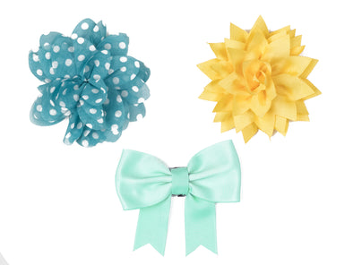 Flower/Bow Collection - Blue, Yellow, Teal