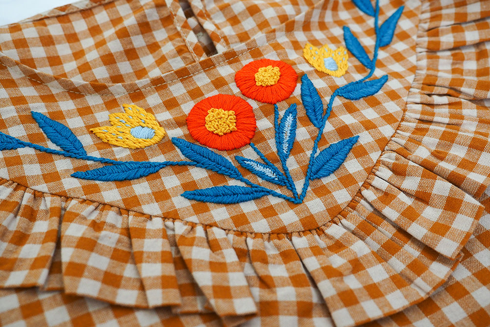 Floral Gingham Blouse - Upcycled Hand Embroidery