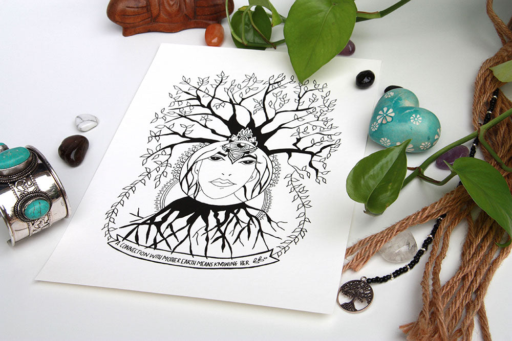 Mother Earth Connection Art Print - Kathy Gardiner