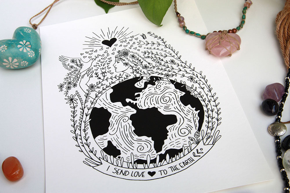 Send Love to Earth Art Print - Kathy Gardiner