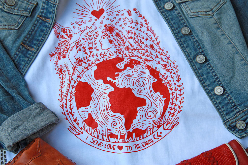Send Love to Earth T-shirt - Kathy Gardiner