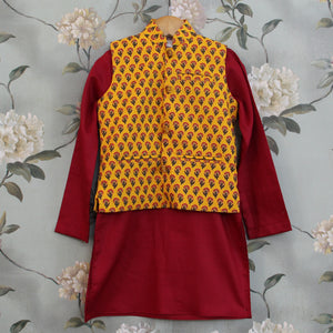 Yellow Jacket Maroon Kurta Set