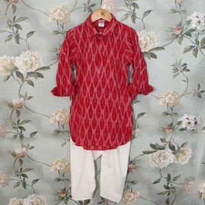 Red Ikat Pathani Set