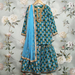 Blue Printed Sharara