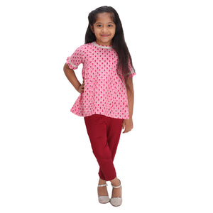 Pink Short Kurta with Pants
