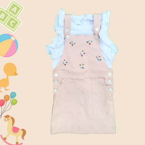 --- LAST PIECE LEFT--- Peach Dungaree with Ruffled Sleeves T-shirt