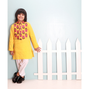 Patterned Yellow Kurta
