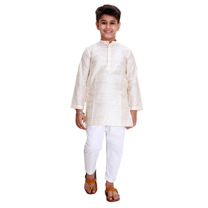 Off white and Golden Kurta Set