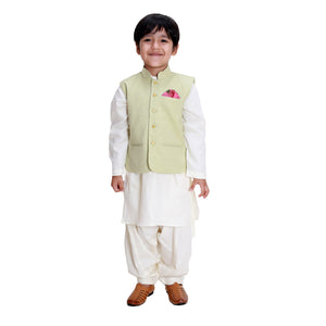 Green Jacket with Golden Button Kurta Set