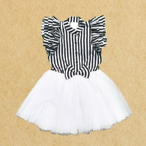 --- LAST PIECE LEFT--- Black and White Stripe Tutu Dress