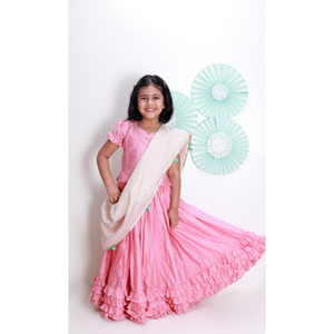 Check Pink Lehenga with White Chunni